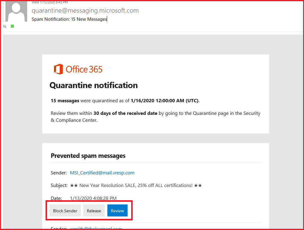 Quarantine notification email