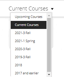 First, you can choose semesters using the drop-down box in the middle of the screen, above the course list.