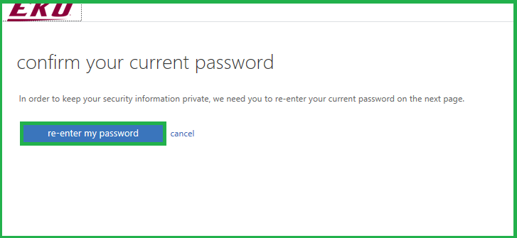 Click re-enter my password