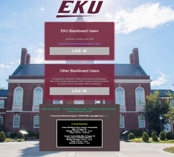 The main login page (learn.eku.edu) will have a different look--background image and top EKU logo.