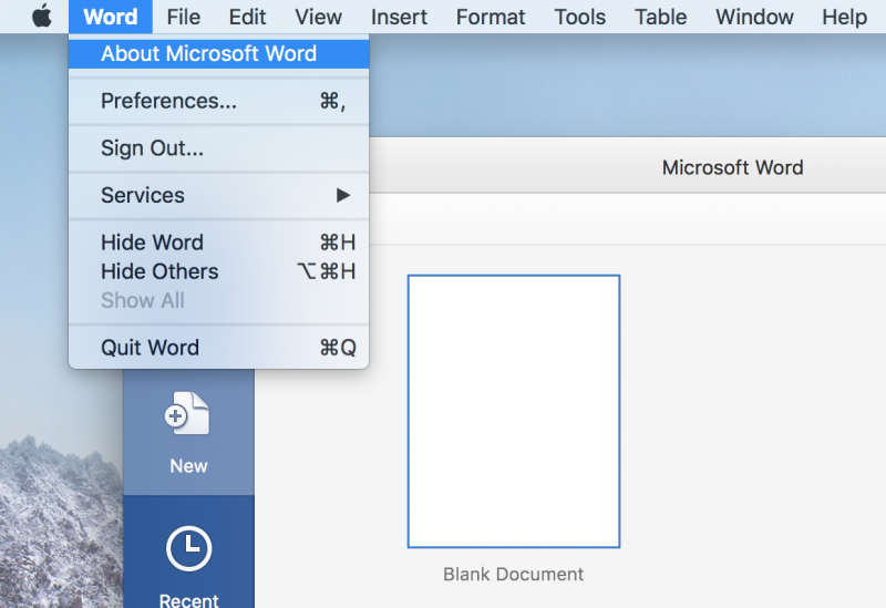 Open Word and on the main menu for software, click Word then About Microsoft Word