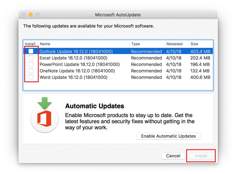 how do i turn off automatic updates for office mac