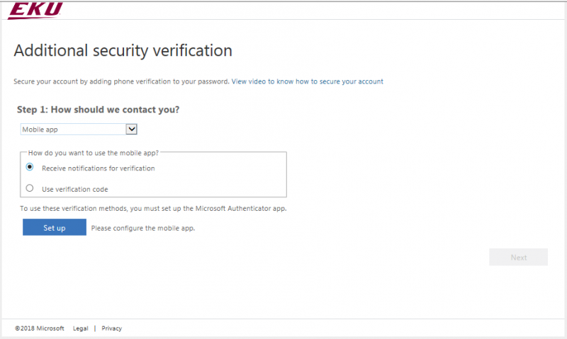 Make sure 'Received notifications for verifications' is selected then click Set up
