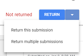 When you finish commenting and grading, you must return it to the student for them to see the grade and for it to appear in the Blackboard Gradebook. Click the 'Return' button then 'Return this submission.'