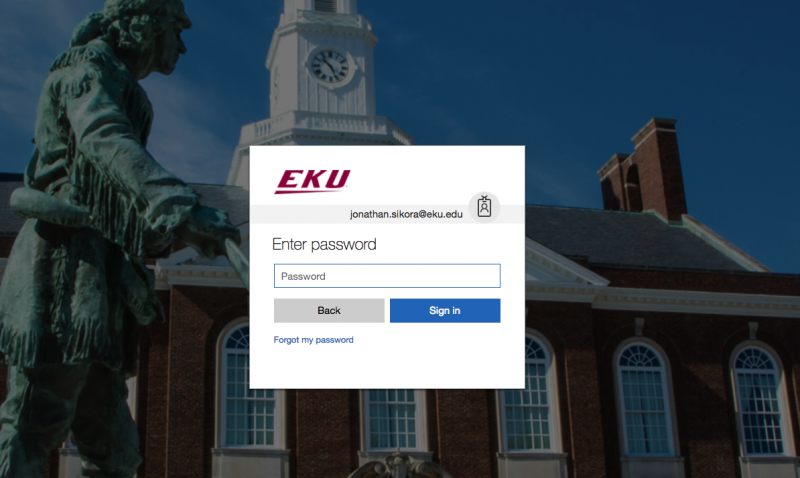 Microsoft Stream login page for EKU
